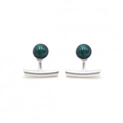 Boucles d'oreilles Ariane pendants barres - Malachite