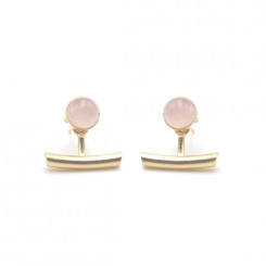 Boucles d'oreilles Ariane pendants barres - Quartz Rose